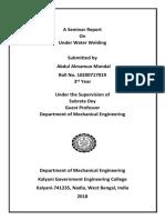 Seminar Report on Underwater Welding