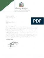 Carta de condolencias del presidente Danilo Medina a Kenia Mejía de Bisonó por fallecimiento de su hermano Ezequiel Isidro Mejía