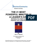 John Maxwell - 21 Most Powerful Minutes in a Leaders Day Biz Book Summary
