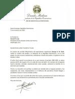 Cartas de condolencias del presidente Danilo Medina a Donald Trump y George W. Bush por fallecimiento de George H. W. Bush