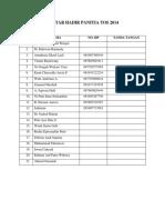 Daftar Hadir Panitia Tos 2014