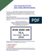 Kisi-Kisi Ujian Nasional (UN) MA Jurusan Agama Tahun 2018 (Download PDF)