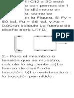 1.-Un perfil C12 x 30 está conectado con pernos de 1 pulgada de diámetro…