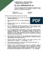 Lkg Admission Form Details 2019-20