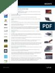 Sony VAIO VGN-Z550NB spec sheet