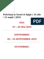 Pelerinaj in Israel Si Egipt 14 Zile 2019