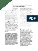 Crisis Económica y Financiera de Argentina en El 2001-Lecciones Para Europa