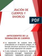 El divorcio y la Separación de Cuerpos