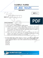 Jee Main 2019 Physics Sample Question Paper
