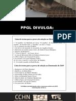 Ppgl - Lista de Obras - Processo Seletivo 2019