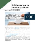 ¡Atención! Conoce qué es un referéndum y cuándo puede aplicarse