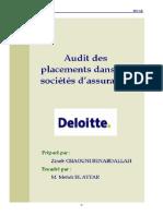 Audit Des Placements Dans Les Sociétés DAssurance