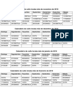 Calendário Ioruba Mês de Novembro de 2018 a Fevereiro de 2019