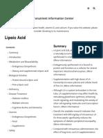Lipoic Acid _ Linus Pauling Institute _ Oregon State University