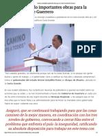 31-10-2018 Destaca Astudillo Importantes Obras Para La Costa Grande de Guerrero.