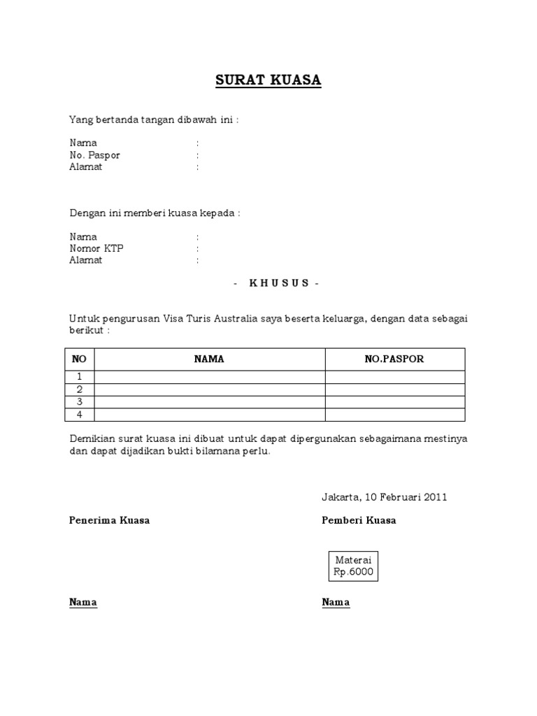 Contoh Surat Kuasa Untuk Pengajuan Visa Turis Australia Docx