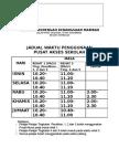 Pusat Akses JADUAL WAKTU PENGGUNAAN, mus225