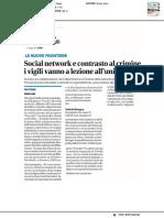 Social network e lotta al crimine, i vigili vanno a lezione all'Università - Corriere Romagna del 5 dicembre 2018