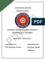Physics Investigatory Project on Bernoulli's Theorem