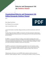 Organizational Behavior and Management 11th Edition Konopaske Solutions Manual