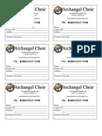 Pre-membership Form Archangel Choir