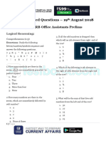 Memory Based Questions for IBPS RRB Clerk Day 2 Prelims 19th August 2018