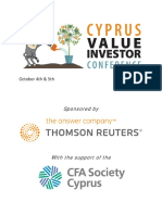 Cyprus Value Investor Conference 2018 Programme