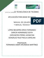 Manual de Usuario y Manual Técnico Php y Postgresql