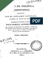 Benjamin Constant -- Curso de Política Constitucional