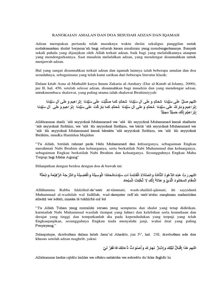 Rangkaian Amalan Dan Doa Sesudah Adzan Dan Iqamah Docx