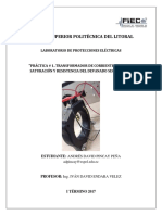 PRÁCTICA TRANSFORMADOR DE CORRIENTE, CURVA DE SATURACIÓN Y RESISTENCIA DEL DEVANADO SECUNDARIO