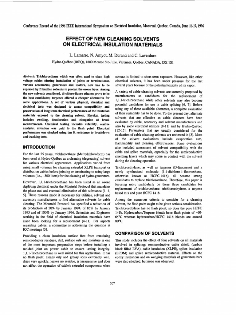 Effect of New Cleaning Solvents on Electrical Insulation Materials