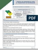 Tarjeta de Emergencia Oxigeno Industrial