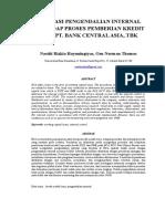 Evaluasi Pengendalian Internal Terhadap Proses Pemberian Kredit Pada Pt. Bank Central Asia, Tbk