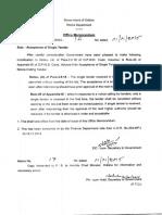 Odisha PWD Acceptance Of Single Tender 2015