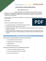 4. Guía de Estudio Primer Parcial Matemáticas IV