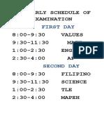 Schedule of Examination