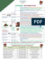 December 2018 Schedule