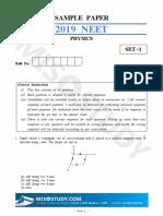 NEET 2019 Physics Sample Question Paper