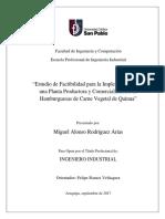 Estudio de Factibilidad Para La Implementacion de Una Fabrica de Hamburguesas de Carne de Quinua