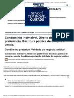 Condomínio Indivisível. Direito de Preferência. Escritura Pública de Compra e Venda. - Jus.com.Br _ Jus Navigandi
