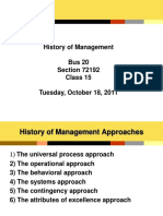 Class 15 History of Management 10-18-11