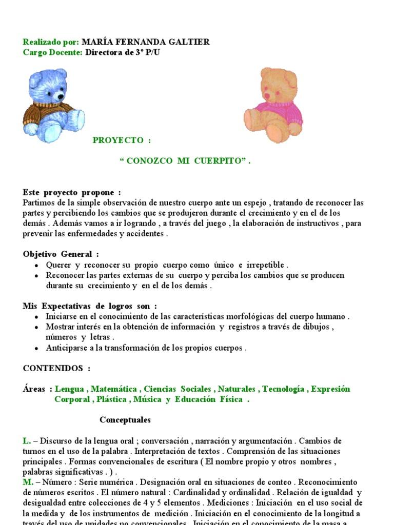 Proyecto conozco mi cuerpito nivel inicial sala de 5 a os for Actividades para jardin maternal sala de 2