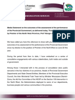 MEDIA STATEMENT - Changes to the Provincial Executive - 06 December 2018