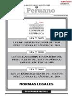 Ley de Presupuesto del Sector Público para el Año Fiscal 2019 Ley de Equilibrio Financiero del Presupuesto del Sector Público para el Año Fiscal 2019 y Ley de Endeudamiento del Sector Público para el Año Fiscal 2019