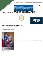 Secretary's Corner _ Department of Education 2018