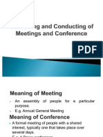 Convening and Conducting of Meetings and Conference