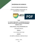 """""""EL CODIGO TRIBUTARIO Y LA INFORMALIDAD EN EL SECTOR LACTEOS EN LA ZONA DE PAUCARBAMBA-AMARILIS, 2018."""""""