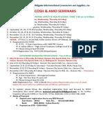 2018 Schedule of Seminars