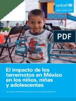El Impacto de Los Terremotos en México en Niñas, Niños y Adolescentes